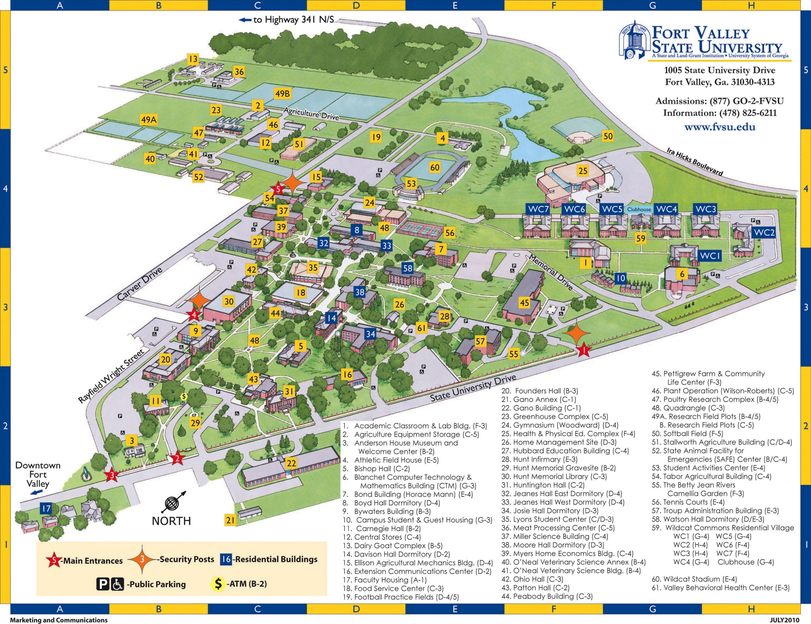 Campus Map and Building Code List